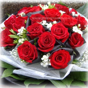 HB10703-HKW-21 Red Rose hand bouquet