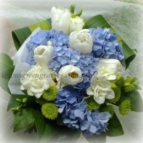 HB11007-DRW-Wh Tulip+Blue Hydrangea