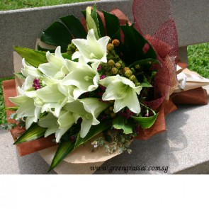 HB11522-LSW-9-Wh Lily hand bouquet