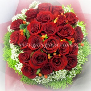 HB11531-LLGRW-24 Red Rose hand bouquet