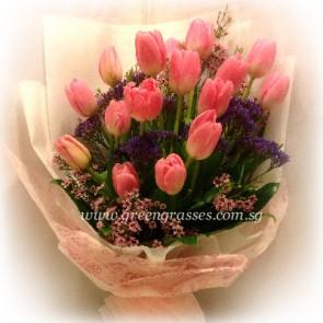 HB12031-LSW-16-Pk Tulip hand bouquet
