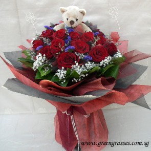 HB12506-ORW-21 Red Rose w/Bear