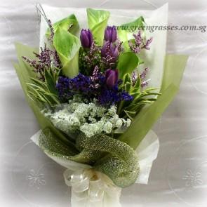 HB12521-LSW-5 Green Wh Calla Lily+5 Purple Tulip