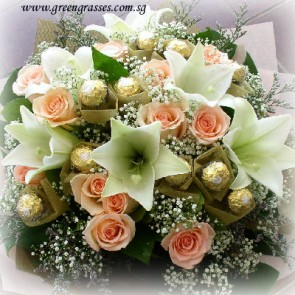 HB17803-HKW-6 Lily+12 Champagne Rose+12 Rocher Chocolate