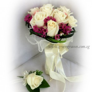 WB09218D-ROM-9 Wh Rose hand bouquet w/Corsage