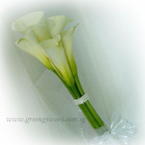 WB09041-PWP-5 Wh Calla Lily w/bead hand bouquet