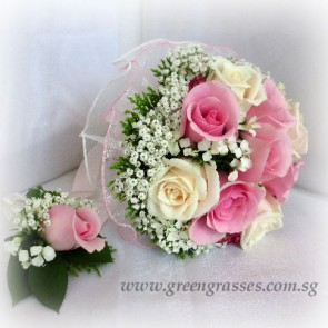 WB10021D-ROM-9 Rose Sweet Pk & Wh) w/Corsage