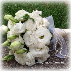 WB10043 ROM-Wh Eustoma/Lisianthus hand bouquet