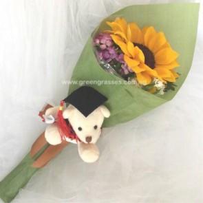 """GRHB036941-TW-1 Sunflower tie w/4"""" Graduate Bear"""