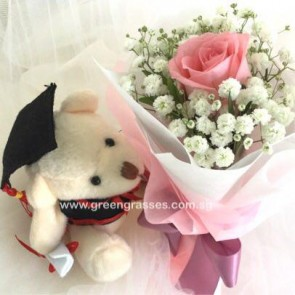 "GRHB036950-LGRW-1 Pk Rose tie w/4"" Graduate Bear"
