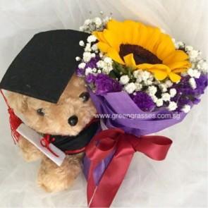 "GRHB05518-LLGRW-1 Sunflower tie w/7.5"" Graduate Bear"