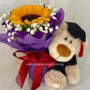 "GRHB05526-LLGRW-1 Sunflower tie w/9"" Graduate Bear"