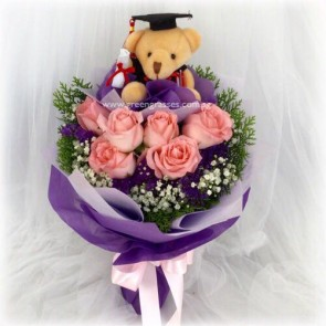 "GRHB07313-GLSW-6 Pk Rose w/4"" Graduate Bear"