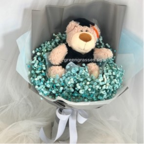 "GRHB08035-KW-Blue BB Baby's Breath+9"" Graduate Bear"