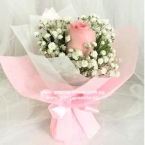 HB03012-LGRW-1 Pk Rose Hand Bouquet