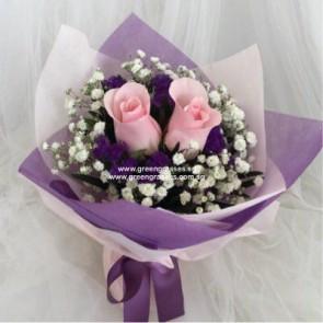 HB04302-LLGRW-2 Pk Rose hand bouquet