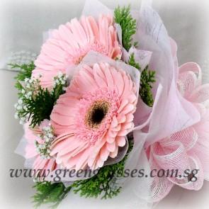 HB04530-LGRW-3 Pk Gerbera hand bouquet