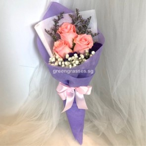 HB04580-SW-3 Pk Rose hand bouquet