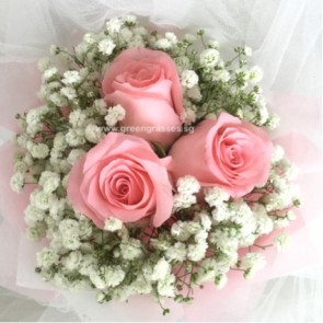 HB05005-LGRW-3 Pk Rose hand bouquet