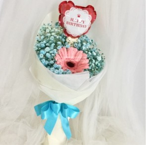 HB05018-KW-1 Pk Gerbera w/Blue BB+Birthday Balloon