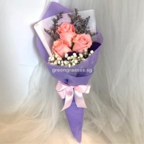 HB05079-SW-3 Pk Rose hand bouquet