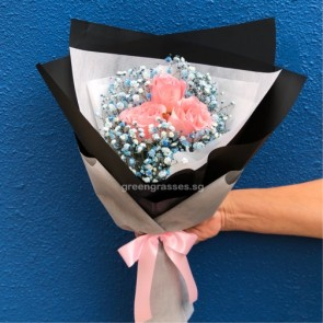 HB05583-SW-3 Red Rose w/Blue Baby's Breath