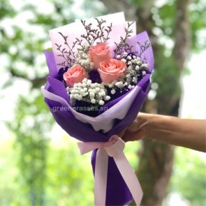 HB05589-LSW-3 Pk Rose hand bouquet