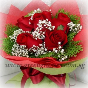 HB06085-LGRW-6 Red Rose hand bouquet