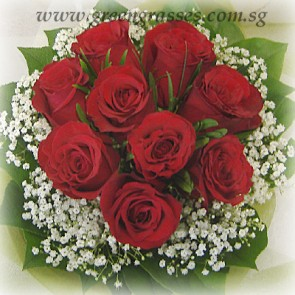 HB06824-LGRW-9 Red Rose hand bouquet