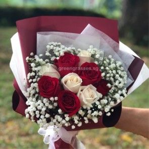 HB06835-GLSW-9 Rose(Wh + Red) hand bouquet