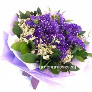 HB07024-GRW-Purple Statice hand bouquet