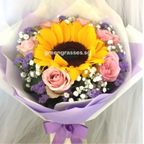 HB07332-LGRW-6 Pk Rose+1 Sunflower