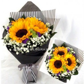 HB07526-LSW-3 Sunflower Hand Bouquet