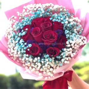 HB08313-GLSW-11 Red Rose w/Blue BB