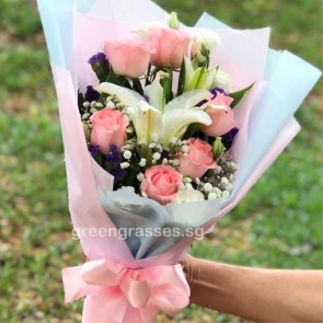 HB08525-LSW-2 Wh Lily+6 Pk Rose