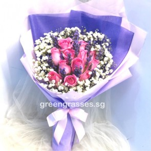 HB08545-GLSW-12 Hot Pk Roses w/Lavender hand bouquet