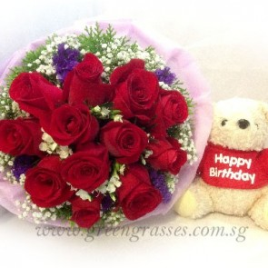 HB09108-LLGRW-12 Red Rose w/Birthday Bear