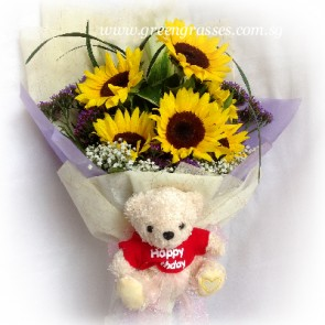 HB095907-LSW-5 Sunflower w/Birthday Bear