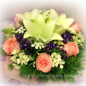 HB09610-LLGRW-3 Wh Lily+6 Pk Rose