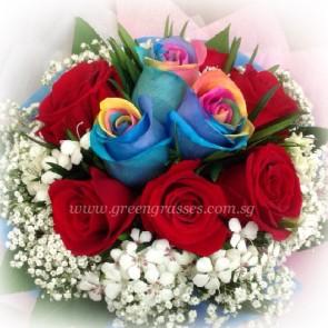 HB09812-LGRW-3 Ecuador Rainbow+6 Red Rose