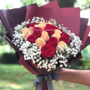 HB09919-GLSW-20 Roses(Red+Champagne) hand bouquet