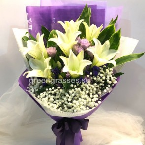HB10548-LSW-7 Wh Lily Hand Bouquet