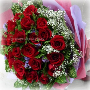 HB15050-ORW-36 Red Rose Hand Bouquet
