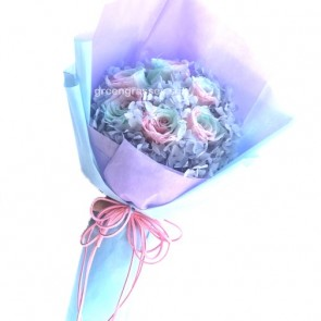HBP10027-BOQ-6 Rainbow Roses Everlasting Preserved 永生花