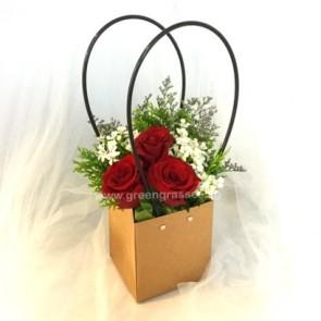 PB04552-3 Red Rose w/Paper Bag