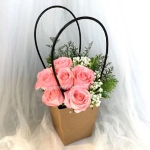 PB05519-6 Pk Rose w/Paper Bag