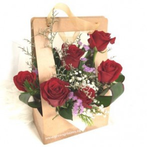 PB06556-6 Red Rose in Paper Gift Bag