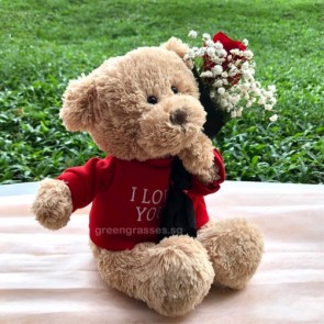 "SCV03583-Self Collect-9"" Lv U Bear with a Red Rose"