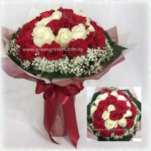 SHB12512D-Spiral-Shaped 24 Wh+Red Rose