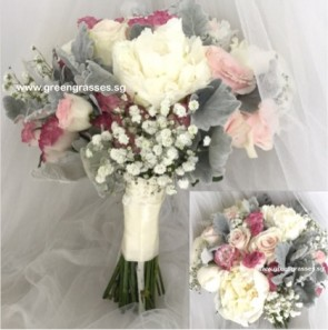 WB16511-Wedding Bouquet-Wh Peony+ Ctr Pk Rose